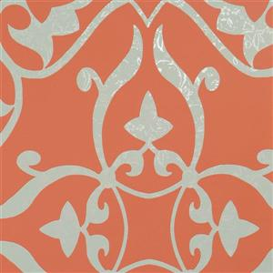Walls Republic Mahogany Metallic Floral Damask Non-Woven Unpasted Wallpaper