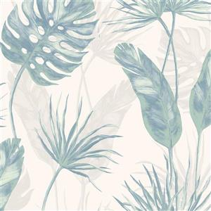 Walls Republic Teal and White Jungle Leaf Floral Unpasted Wallpaper