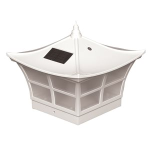 Classy Caps Ambience 5-in x 5-in  PVC White Solar Post Cap