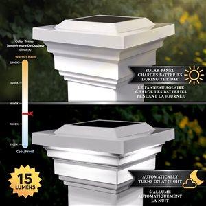 Classy Caps Regal Solar PVC White 4-in x 4-in Post Cap