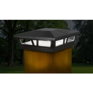 Classy Caps Cambridge 6-in x 6-in Black Aluminum Solar Post Cap