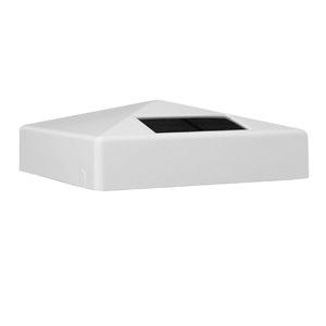 Classy Caps Pyramid Solar PVC White 5-in x 5-in Post Cap