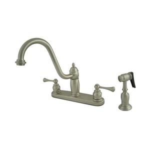 Elements of Design New Orleans Satin Nickel  10-in Lever-Handle Deck Mount High Arc Kitchen Faucet with Sprayer