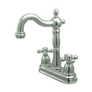Elements of Design New Orleans Chrome 9-in Cross-Handle Deck Mount Bridge Kitchen Faucet