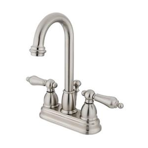 Elements of Design Chicago Satin Nickel 2 Handle 4-in Centerset Deck Mount  Bathroom Faucet with Drain