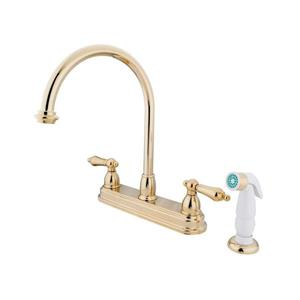 Elements of Design Chicago Polished Brass 12-in Lever-Handle Deck Mount High-Arc Kitchen Faucet with White Sprayer