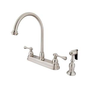 Elements of Design St. Louis Satin Nickel 12-in Lever-Handle Deck Mount High-Arc Kitchen Faucet with Sprayer