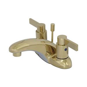 Elements of Design Nuvofusion Polished 4-in  Brass 2-Handle Centerset Bathroom Faucet (Drain Included)