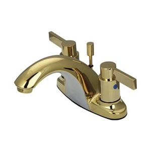 Elements of Design NuvoFusion Polished Brass 2-Handle 4-in Centerset Deck Mount Bathroom with Drain
