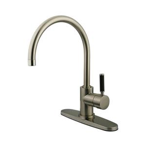 Elements of Design Kaiser Satin Nickel 17-in Lever-Handle Deck Mount Pull-out Kitchen Faucet