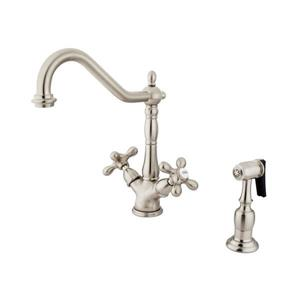 Elements of Design Satin Nickel 12-in Cross-Handle Deck Mount Kitchen Faucet with Sprayer