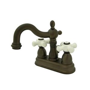 Elements of Design French Country 6.25-in Oil-Rubbed Bronze Porcelain Cross Handle 4-in Center Bathroom Faucet