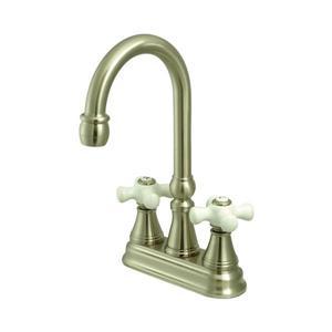 Elements of Design Satin Nickel Porcelain Cross Handle Deck Mount Bar and Prep Kitchen Faucet