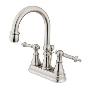 Elements of Design 4-in Satin Nickel Templeton metal Lever Handle Centerset Bathroom Faucet
