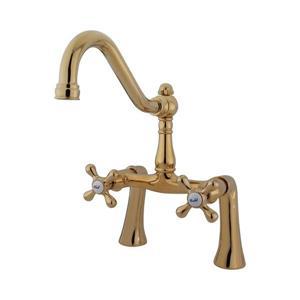 Elements of Design Vintage Brass Deck Mount Bathtub Faucet