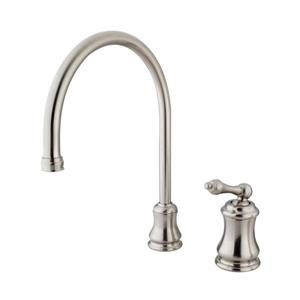 Elements of Design Chicago Satin Nickel 13-in Level Handle Deck Mount High-Arc Kitchen Faucet