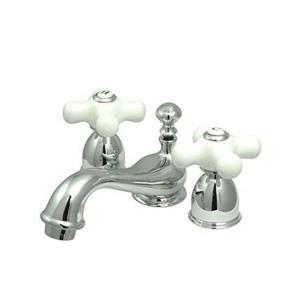 Elements of Design Chicago 4-in Chrome Porcelain Cross Handle Mini Widespread Bathroom Faucet