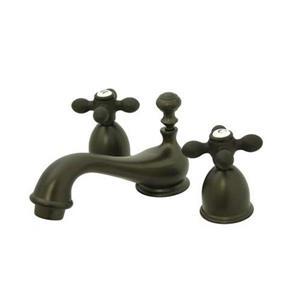 Elements of Design Chicago 4-in Oil-Rubbed Bronze Metal Cross Handle Mini Widespread Bathroom Faucet