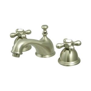 Elements of Design Chicago Satin Nickel Metal Cross Handle Widespread Bathroom Sink Faucet