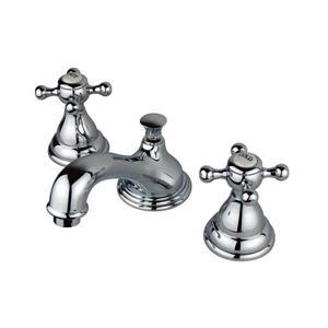 Elements of Design Royale 3.38-in Chrome Buckingham Cross Handle Widespread Bathroom Sink Faucet