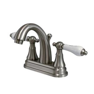 Elements of Design Elizabeth 4-in Satin Nickel 2 Handle Centerset Bathroom Faucet