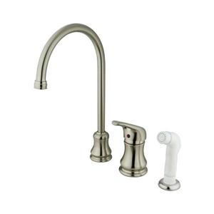 Elements of Design Daytona Satin Nickel 13-in 1-Handle Deck Mount High-Arc Kitchen Faucet With Spray
