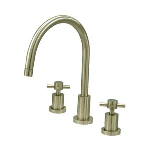 Elements of Design Concord Satin Nickel 11.5-in 2-Handle Deck Mount High-Arc Kitchen Faucet