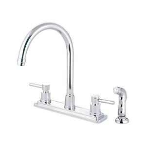 Elements of Design Concord Chrome 12.5-in 2-Handle Deck Mount High-Arc Kitchen Faucet With Sprayer