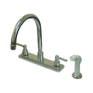 Elements of Design Tampa Chrome 12.5-in 2-Handle Deck Mount High-Arc Kitchen Faucet With Sprayer