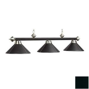 RAM Game Room Products 3-Light Leather Shaded Billiard Island Light Black/Stainless