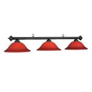 RAM Game Room Products 3-Light Marseilles Billiard Island Light Matte Black/Burgundy