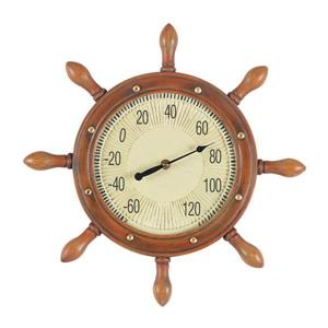 RAM Game Room Products Wireless Indoor/Outdoor Handpainted Captain's Wheel Thermometer