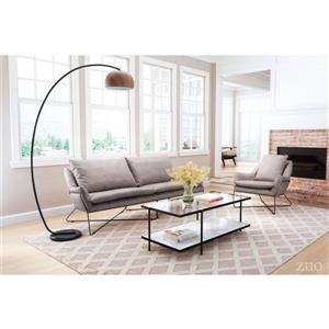 Zuo Modern Finn Sofa - 86.6-in x 33.9-in x 34.6-in - Faux Leather - Grey