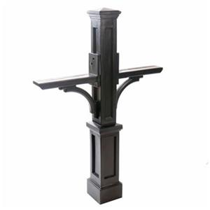 Mayne Accent 3.33-ft Black Newport In-Ground Double Mailbox Post