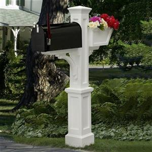Mayne Executive 3.42-ft White Westbrook In-Ground Mailbox Post