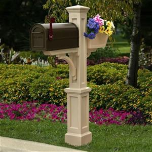 Mayne Executive 3.42-ft Beige Westbrook In-Ground Mailbox Post