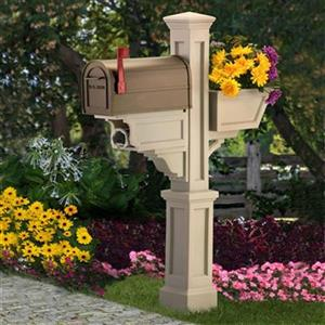 Mayne Executive 3.33-ft Beige Signature In-Ground Mailbox Post
