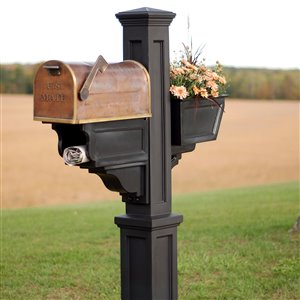 Mayne Executive 3-ft Black In Ground Signature Plus Mailbox Post