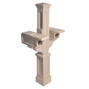 Mayne Executive Rockport 2-ft Beige In Ground Double Mailbox Post
