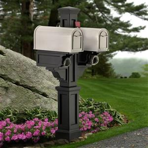Mayne Executive Rockport 2-ft Black In Ground Double Mailbox Post