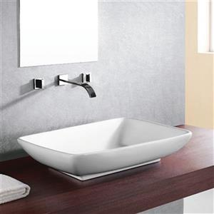 Acri-tec Industries 17.38-in White Counter Top Ceramic Rectangular Vessel Sink