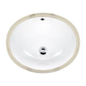 Acri-tec Industries 15-in White Undermount Ceramic Oval Sink