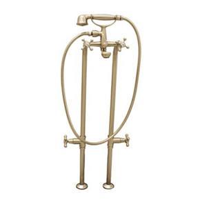 Acri-tec Industries 9-in Brushed Nickel Monarch Cross Handle Freestanding Faucet with Stops