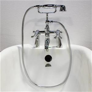 Acri-tec Industries 5.7-in ChromeCross Handle Deck Mount Tub Faucet
