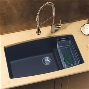 Blanco Cascade 32-in x 19.50-in x 10-in Anthracite Silgranit Double Offset Bowl Undermount Kitchen Sink