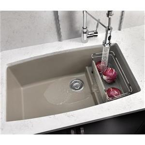 Blanco Cascade 32-in x 19.50-in x 10-in Truffle Silgranit Double Offset Bowl Undermount Kitchen Sink