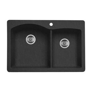 Blanco Diamond 33-in x 22-in x 9.50-in Anthracite Silgranit Double Offset Bowl Kitchen Sink