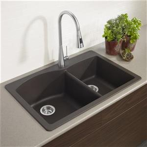 Blanco Diamond 33-in x 22-in x 9.50-in Cafe Silgranit Double Offset Bowl Kitchen Sink