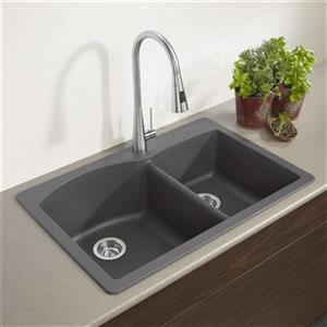 Blanco Diamond 33-in x 22-in x 9.50-in Cinder Silgranit Double Offset Bowl Kitchen Sink