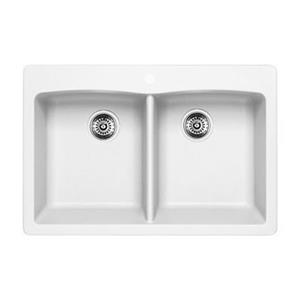 Blanco Diamond 33-in x 22-in x 9.50-in White Silgranit Undermount Double Equal Bowl